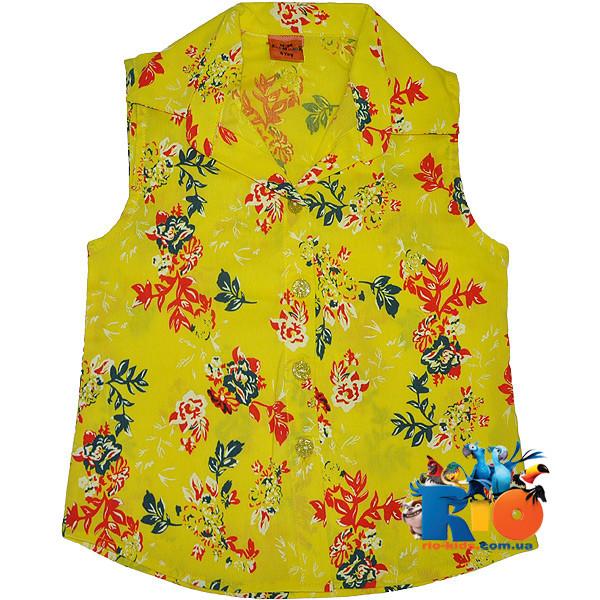 Детская летняя рубашка в цветочек , для девочки от 5-8 лет