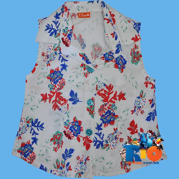 Летняя рубашка в цветочек , для девочек от 5-8 лет