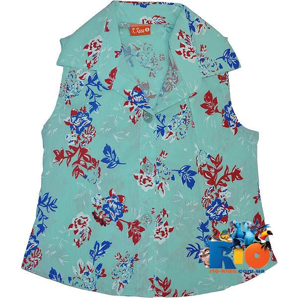 Детская рубашка в цветочек , для девочек от 5-8 лет