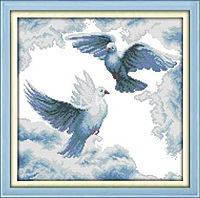 """Набор для вышивки крестом с печатью на ткани 14ст  """"Пара голубей"""""""