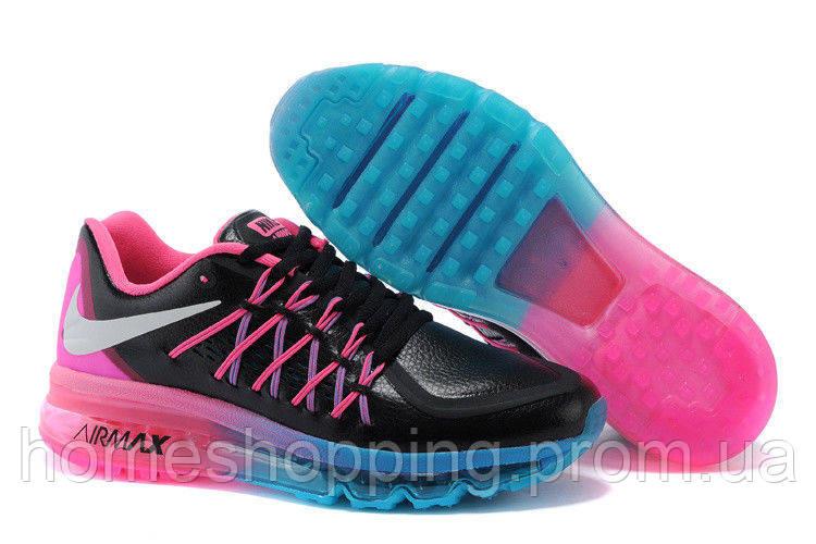 Женские кроссовки Nike Air Max 2015 черно-розовые  кожа