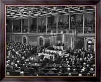 Картина Президент  Рузвельт на конгрессе после Ялтинской конференции, Неизвестен