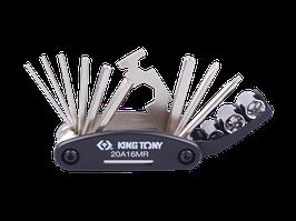Вело мультиинструмент (кассета)- ключи, головки, отвертки,шестигранники  KINGTONY 20A16MR