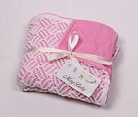 Ажурный вязаный плед на трикотаже, розовый