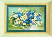 Схема для вышивания бисером на авторской канве цветы ромашки и васельки