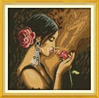 """Набор для вышивки крестом с печатью на ткани 14ст  """"Девушка и роза"""""""