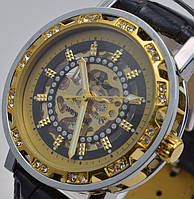 Часы мужские механические WINNER GOLD KRYSTAL (Black)