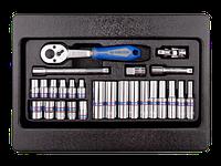 """Набір інструменту 1/4"""" (головки,трещітка,удл.,кардан). KINGTONY 9-2526MR"""