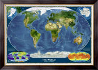 Картина Национальная, географическая карта мира, Неизвестен