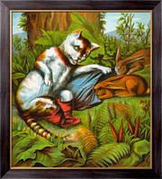 Картина Кот в сапогах охотится на кроликов, Неизвестен