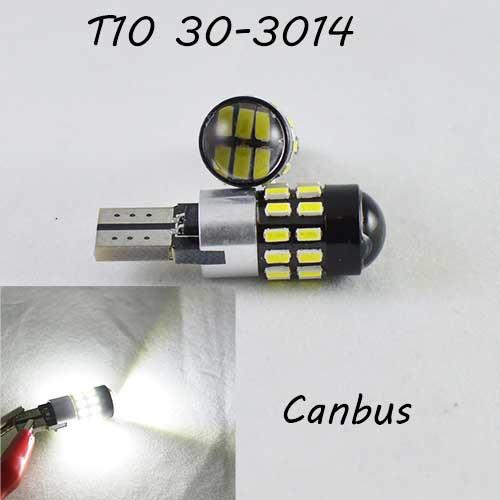 LED лампа в габарит SL LED с обманкой компьютера под цоколь W5W(T10)  30 лед типа 3014 9-30 В. 5000К