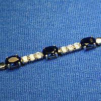 Серебряный браслет с синими цирконами 5007с