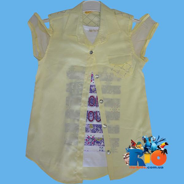 """Детская летняя блузка """"двойка"""" , для девочек от 3-7 лет"""