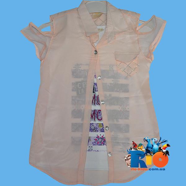 """Детская летняя блузка """"двойка"""" , для девочки от 3-7 лет"""