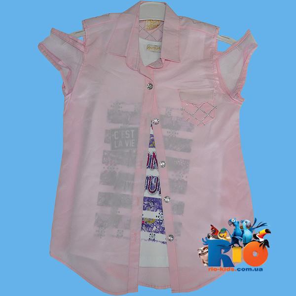 """Летняя блузка """"двойка"""" , для девочки от 8-12 лет"""