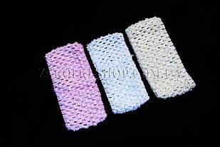 Пов'язка сіточка біла, бежева, рожева, ширина 6,5 см, 12 штук в упаковці