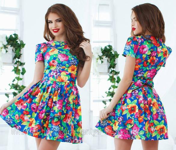 Женское платье цветы из тонкого джинса