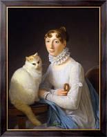 Картина Дама с кошкой, Жерар, Маргерит