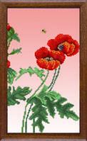 """Схема для вышивания бисером """"Маки"""" на авторской канве Триптих №3"""