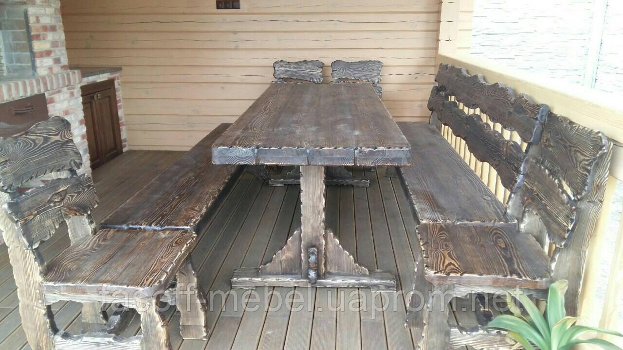 Комплект лавки + стол + стулья