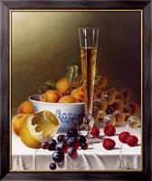 Картина Натюрморт с фруктами и шампанским на скатерти, Ходриэн, Рой