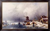 Картина Фигуристы в зимнем пейзаже, Голландия, Лейкерт, Чарльз Генри Джозеф