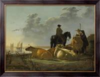 Картина Крестьяне и крупный рогатый скот на берегу реки Мервед, Кейп, Альберт Якобз
