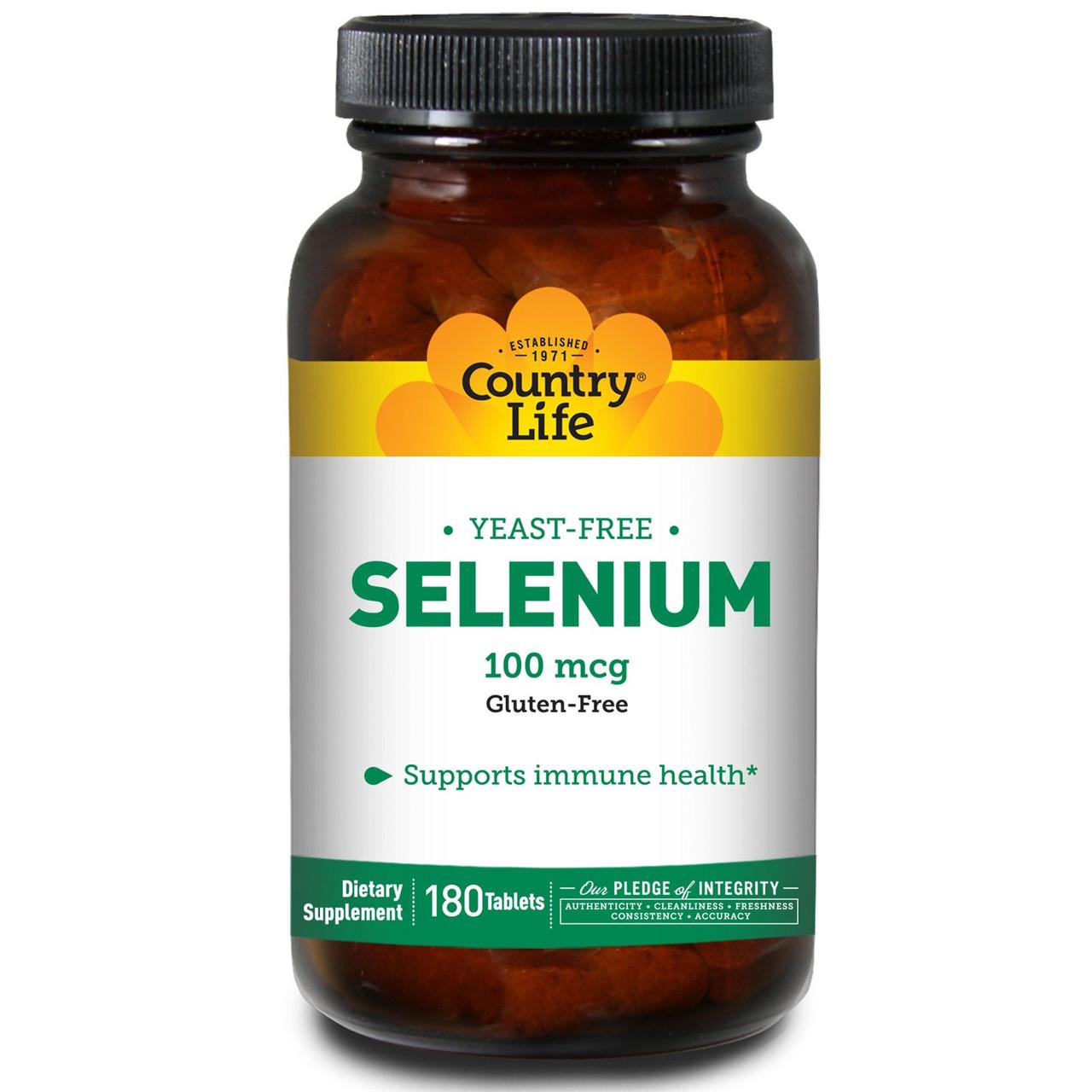 Селен, 100 мкг, 180 таблеток, Country Life. Сделано в США.