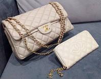 Клатч бежевый через плечо Chanel  бежевая сумочка Шанель