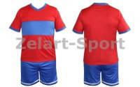 Форма футбольная без номера CO-1503-R (PL, р-р M-46-48, L-48-50, XL-50-52, красный, шорты синие)