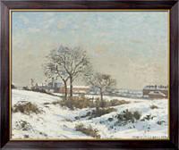 Картина Снежный пейзаж в Южном Норвуде, 1871, Писсарро, Камиль