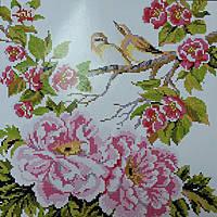 """Набор для вышивки крестом с печатью на ткани 14ст  """"Цветы и птицы"""""""