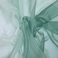Тюль Микровуаль с переходом белого в цвет хвои + высококачественный пошив