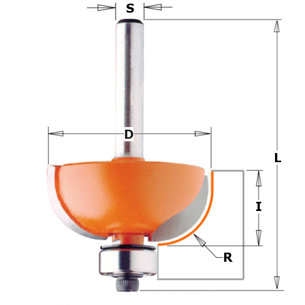 Фреза галтельная с нижним с подшипником, R = 12,7 мм, S = 8 мм