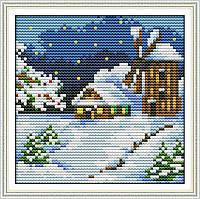"""Набор для вышивки крестом с печатью на ткани 14ст  """"Зима  """""""