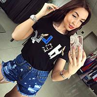 Женские стильные джинсовые шорты с потертостями и звездами