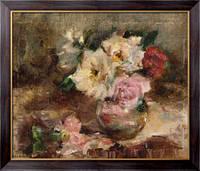 Картина Цветочный натюрморт с розами в стеклянной вазе, Ритсема, Коба