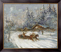 Картина Соревнования на тройках по снегу, Коровин, Константин Алексеевич