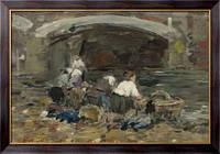 Картина Прачки возле моста, 1885-90, Будэн, Эжен