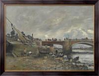 Картина Прачки возле моста, 1878, Будэн, Эжен