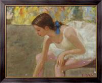Картина Мари-Лизе, молодая балерина с голубой лентой за кулисами, Галл, Франсуа