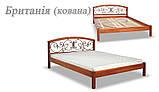 Ліжко півтораспальне з натурального дерева в спальню, дитячу Британія з ковкою (Вільха) ДОК , фото 6
