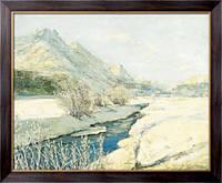 Картина Ручей в долине под снегом,  Лапшин, Георгий Александрович
