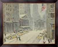 Картина Вид улицы Броуд, Нью-Йоркской фондовой бирже и казначейства здания на расстоянии,  Уиггинс, Гай Кэрлтон
