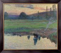 Картина Прачка на берегу реки,  1905-10, Мартин, Анри Жан Гийом Мартин
