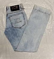 Джинсы мужские голубые светлые варенные слегка зауженные, фото 1