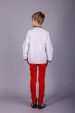 Мальчиковая сорочка с тканой вставкой на белом батисте, фото 3