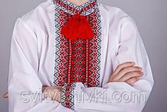 Мальчиковая сорочка с тканой вставкой на белом батисте, фото 2