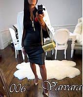 Женское платье черное эко-кожа