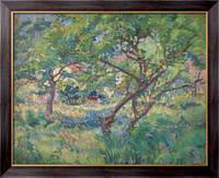 Картина Дом художника за деревьями, 1909,  Бюхр, Карл Альберт